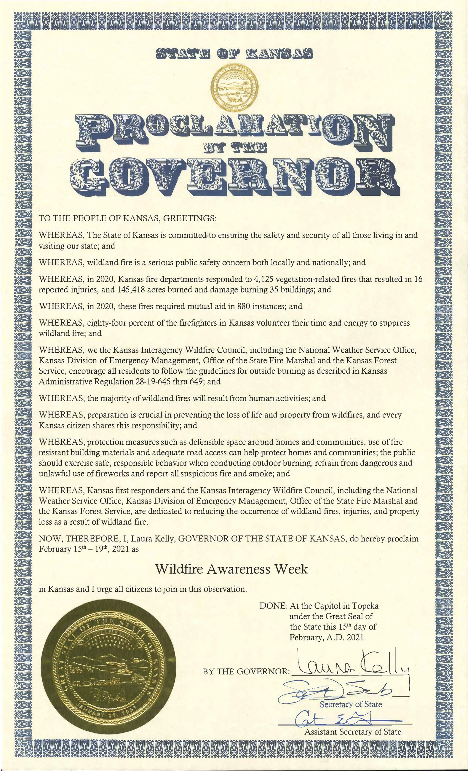 Wildfire Awareness Week Proclamation