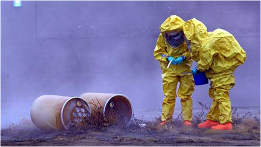 Two People in Haz-Mat Suits