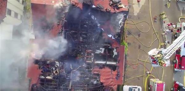 Aerial Shot of a Burned Out Building